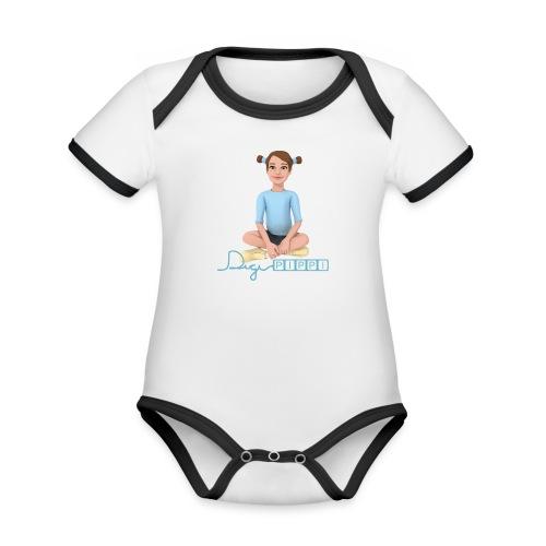 DigiPippi - maskot og logo - Kortærmet økologisk babybody i kontrastfarver