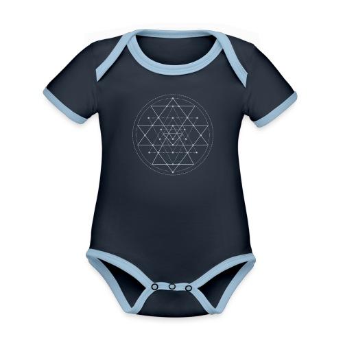 Harmaa geometrinen Shri Yantra -kuvio - Vauvan kontrastivärinen, lyhythihainen luomu-body