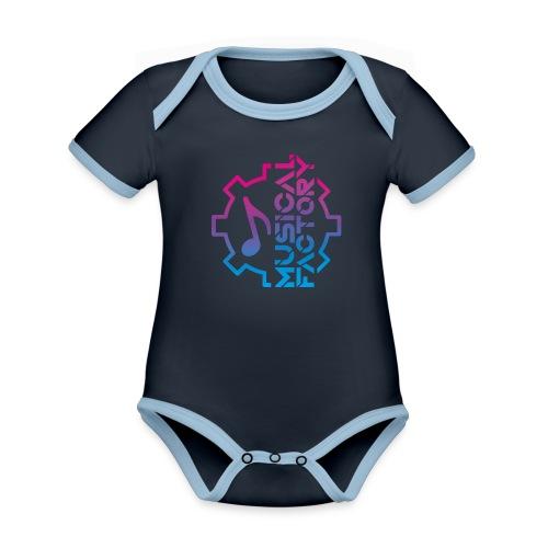 Musical Factory Marchio - Body da neonato a manica corta, ecologico e in contrasto cromatico