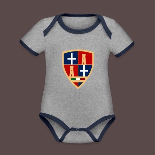 Sardegna - Stemma Sassari - Body da neonato a manica corta, ecologico e in contrasto cromatico