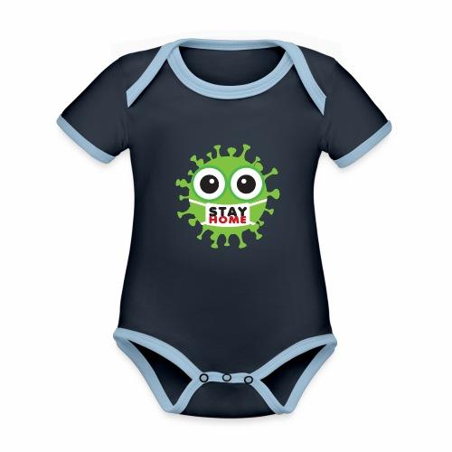 Stay at home, zostań w domu - Ekologiczne body niemowlęce z krótkim rękawem i kontrastowymi lamówkami