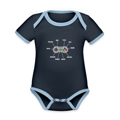 Bébé aux commandes - blanc - Body Bébé bio contrasté manches courtes