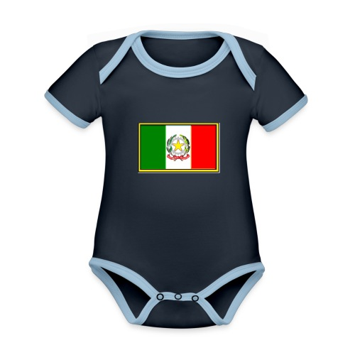 Bandiera Italiana - Body da neonato a manica corta, ecologico e in contrasto cromatico