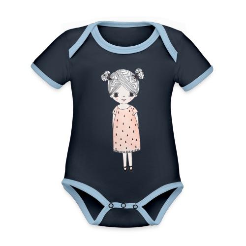 lachend meisje met knotjes - Baby contrasterend bio-rompertje met korte mouwen