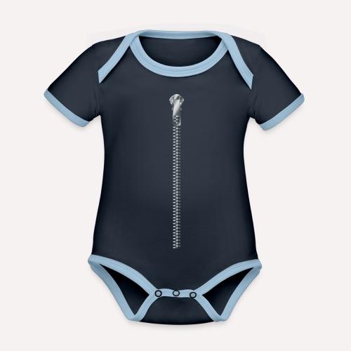 Zipper Funny Surprising T-shirt, Hoodie,Cap Print - Organic Baby Contrasting Bodysuit
