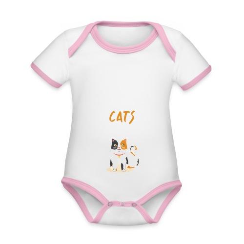 Eat sleep warrior cats repeat - Body Bébé bio contrasté manches courtes