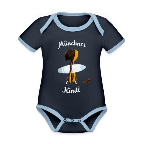 Münchner Kindl Eisbach Surfer mit Text - Baby Bio-Kurzarm-Kontrastbody