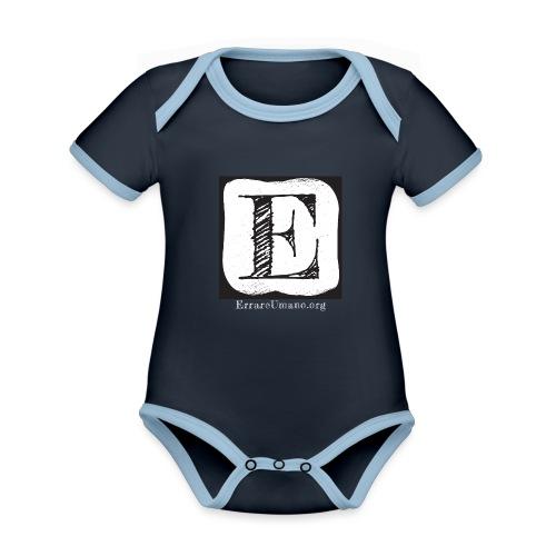 Logo ErrareUmano con scritta bianca - Body da neonato a manica corta, ecologico e in contrasto cromatico
