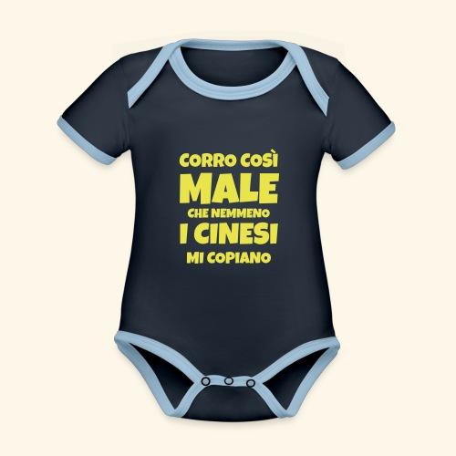 corro così male - theme - Body da neonato a manica corta, ecologico e in contrasto cromatico