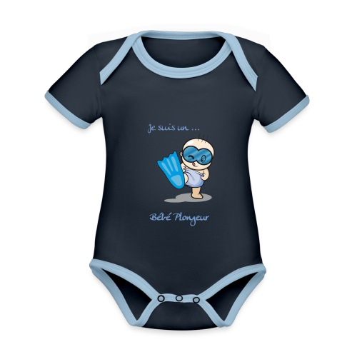 je suis un bebe plongeur - Body Bébé bio contrasté manches courtes