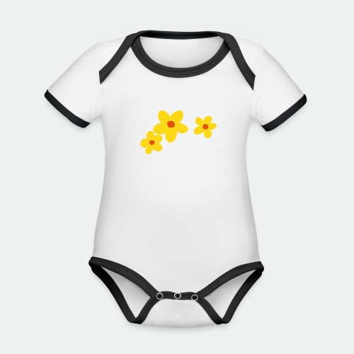 Three Flowers - Organic Baby Contrasting Bodysuit