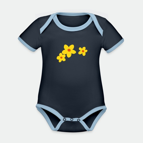 Three Flowers - Organic Baby Contrasting Bodysuit