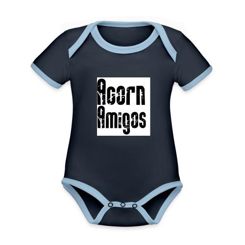 acorn amigos badge - Ekologisk kontrastfärgad kortärmad babybody