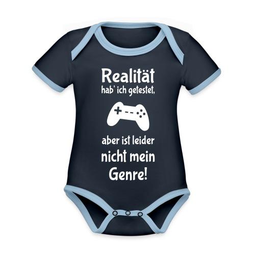 Coole Gamer Nerd Sprüche Zocken Realität - Baby Bio-Kurzarm-Kontrastbody