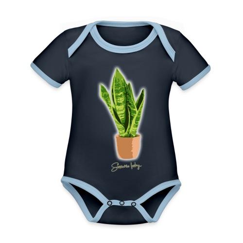 sanseveria fanboy - Baby contrasterend bio-rompertje met korte mouwen