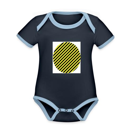 varninggulsvart - Ekologisk kontrastfärgad kortärmad babybody