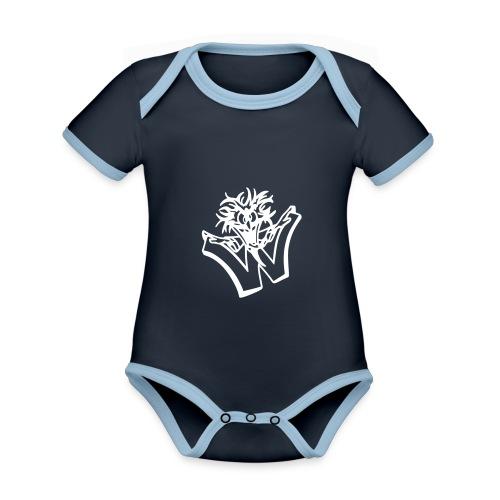 w wahnsinn - Baby contrasterend bio-rompertje met korte mouwen
