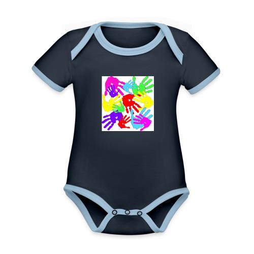 pastrocchio2 - Body da neonato a manica corta, ecologico e in contrasto cromatico