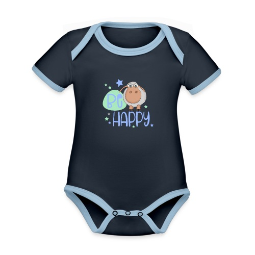 Be happy sheep - Happy sheep - lucky sheep - Organic Baby Contrasting Bodysuit