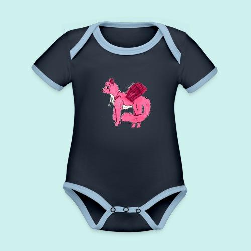 pink_cat_ei_taustaa - Vauvan kontrastivärinen, lyhythihainen luomu-body