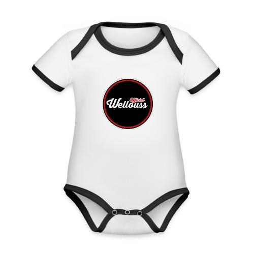 Wellouss Fan T-shirt   Rood - Baby contrasterend bio-rompertje met korte mouwen