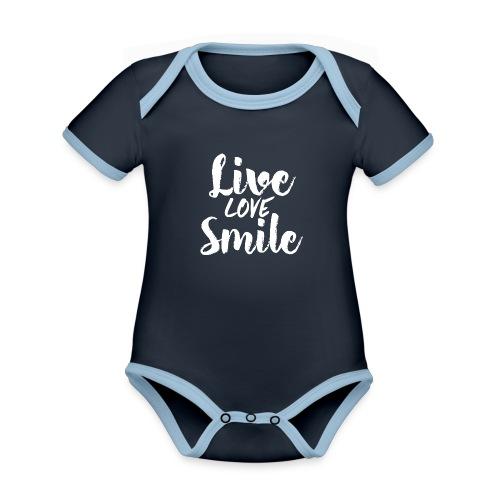 liove love smile - Body da neonato a manica corta, ecologico e in contrasto cromatico