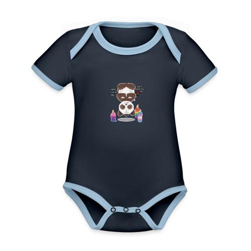 Panda Love - Kortærmet økologisk babybody i kontrastfarver