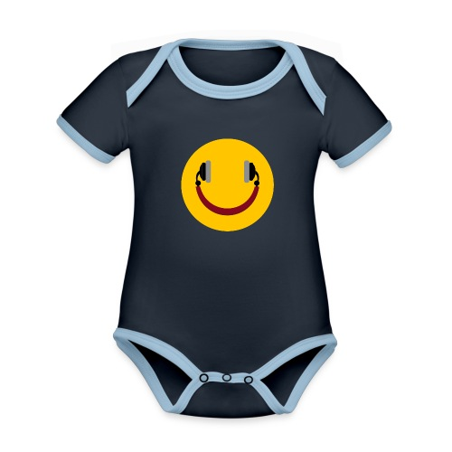 Smiling headphone - Kortærmet økologisk babybody i kontrastfarver