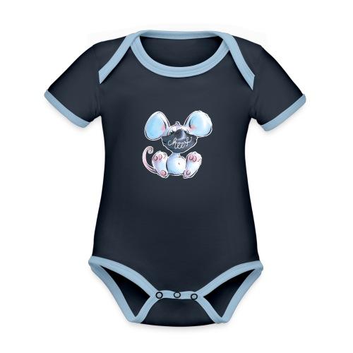 Maskenmaus - Baby Bio-Kurzarm-Kontrastbody