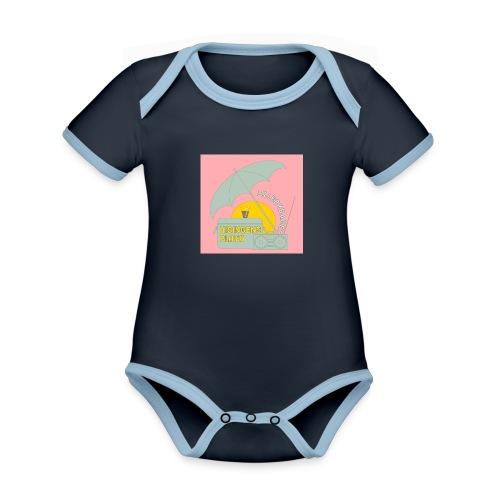 Hisingens playa pink - Ekologisk kontrastfärgad kortärmad babybody