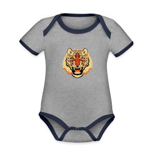 Tiger - Baby contrasterend bio-rompertje met korte mouwen