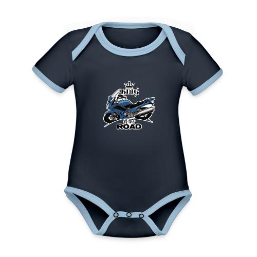 0885 FJR KING of the ROAD (blauw) - Baby contrasterend bio-rompertje met korte mouwen