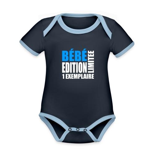 Bébé édition limitée 1 exemplaire - bleu et blanc - Body Bébé bio contrasté manches courtes