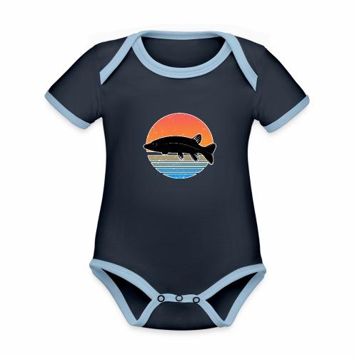 Retro Hecht Angeln Fisch Wurm Raubfisch Shirt - Baby Bio-Kurzarm-Kontrastbody