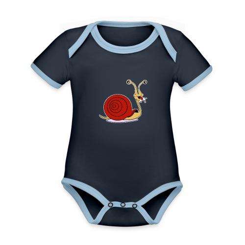Escargot rigolo red version - Body Bébé bio contrasté manches courtes