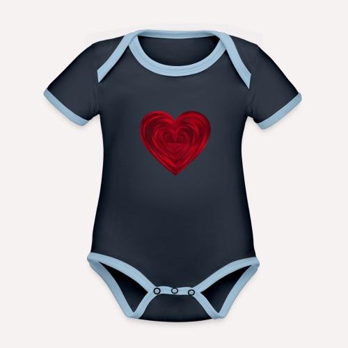 Love Heart Print T-shirt design - Organic Baby Contrasting Bodysuit