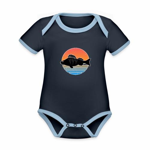 Retro Barsch Angeln Fisch Wurm Raubfisch Shirt - Baby Bio-Kurzarm-Kontrastbody