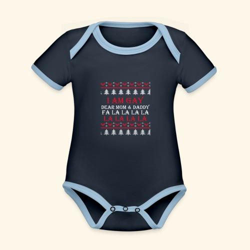 Gay Christmas sweater - Ekologiczne body niemowlęce z krótkim rękawem i kontrastowymi lamówkami