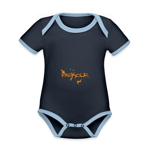 Parkour Orange - Kortærmet økologisk babybody i kontrastfarver