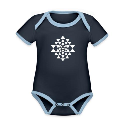 Valkoinen Shri Yantra -kuvio - Vauvan kontrastivärinen, lyhythihainen luomu-body