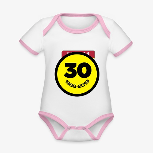30 Jaar Belgian New Beat Smiley - Baby contrasterend bio-rompertje met korte mouwen