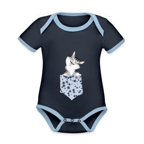 gatto tasca - Body da neonato a manica corta, ecologico e in contrasto cromatico