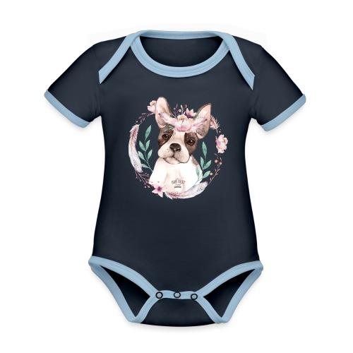 French Bully Flowers - Französische Bulldogge - Baby Bio-Kurzarm-Kontrastbody