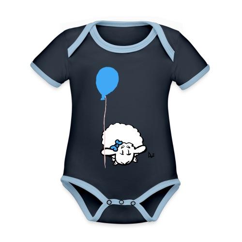 Babylam med ballon (blå) - Kortærmet økologisk babybody i kontrastfarver