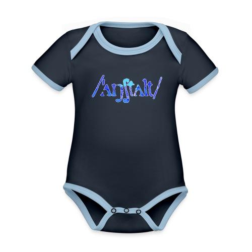 /'angstalt/ logo gerastert (blau/weiss) - Baby Bio-Kurzarm-Kontrastbody