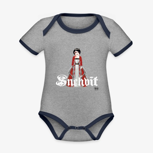 Snehvit - Økologisk kortermet kontrast-babybody