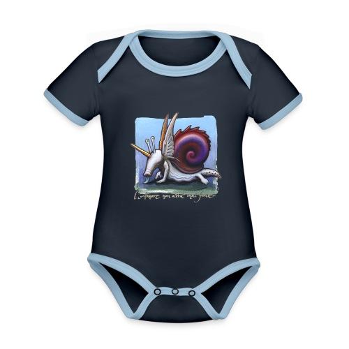 Unichiocciolo - Body da neonato a manica corta, ecologico e in contrasto cromatico