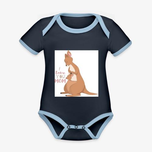 Kangaroo Mom Love - Økologisk kortermet kontrast-babybody