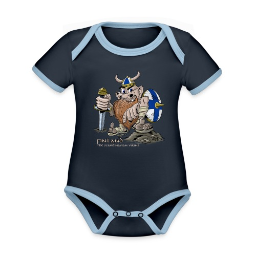 FINLAND VIKING T-paidat, tekstiilit ja lahjaideat - Vauvan kontrastivärinen, lyhythihainen luomu-body