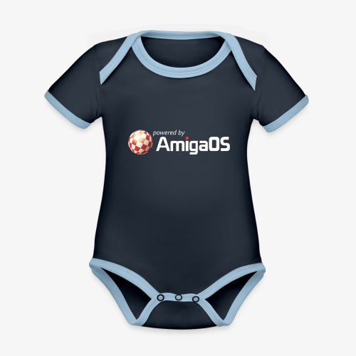 PoweredByAmigaOS white - Organic Baby Contrasting Bodysuit